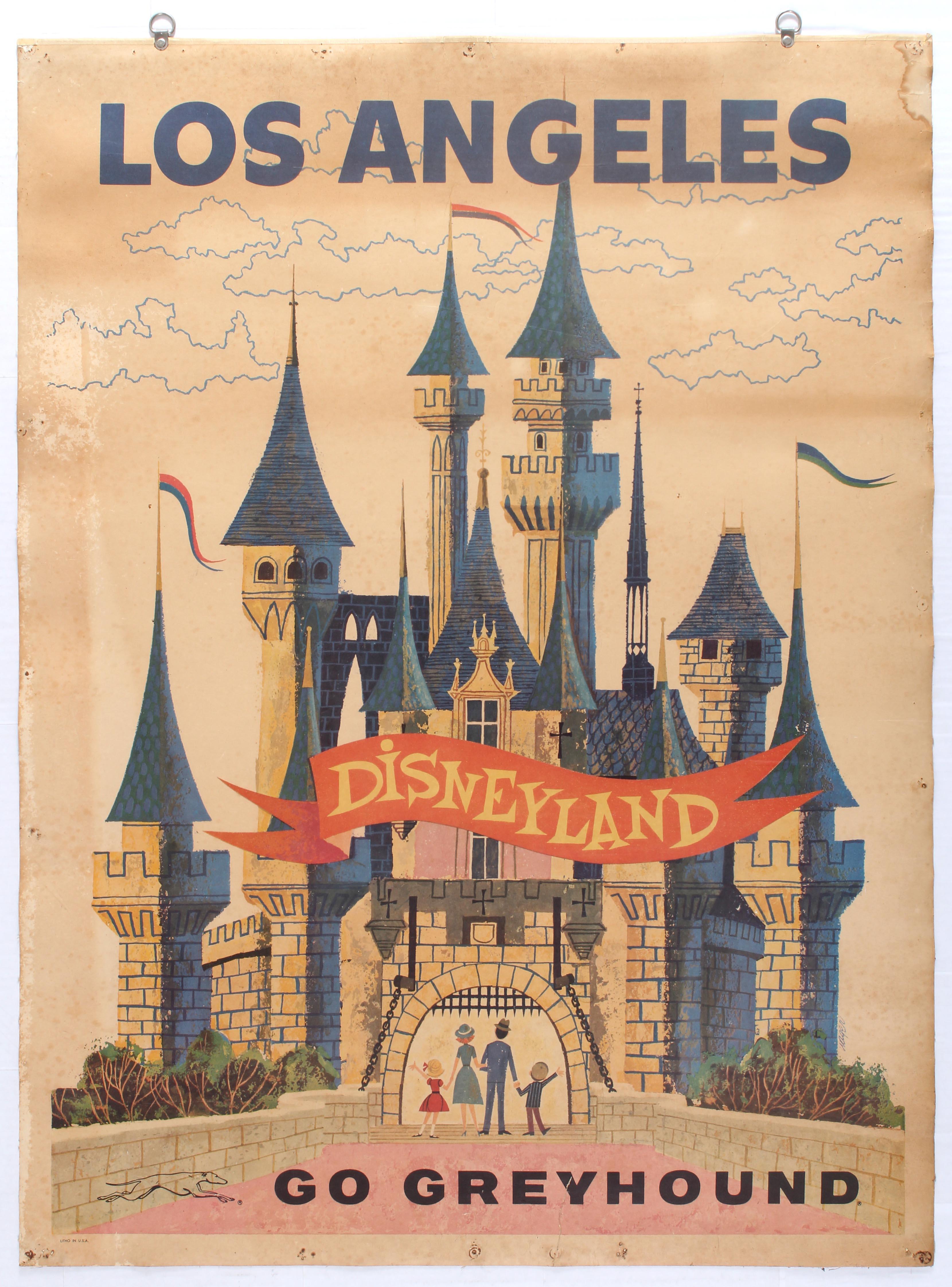 Lot 1504 - Advertising Poster Los Angeles Disneyland Greyhound