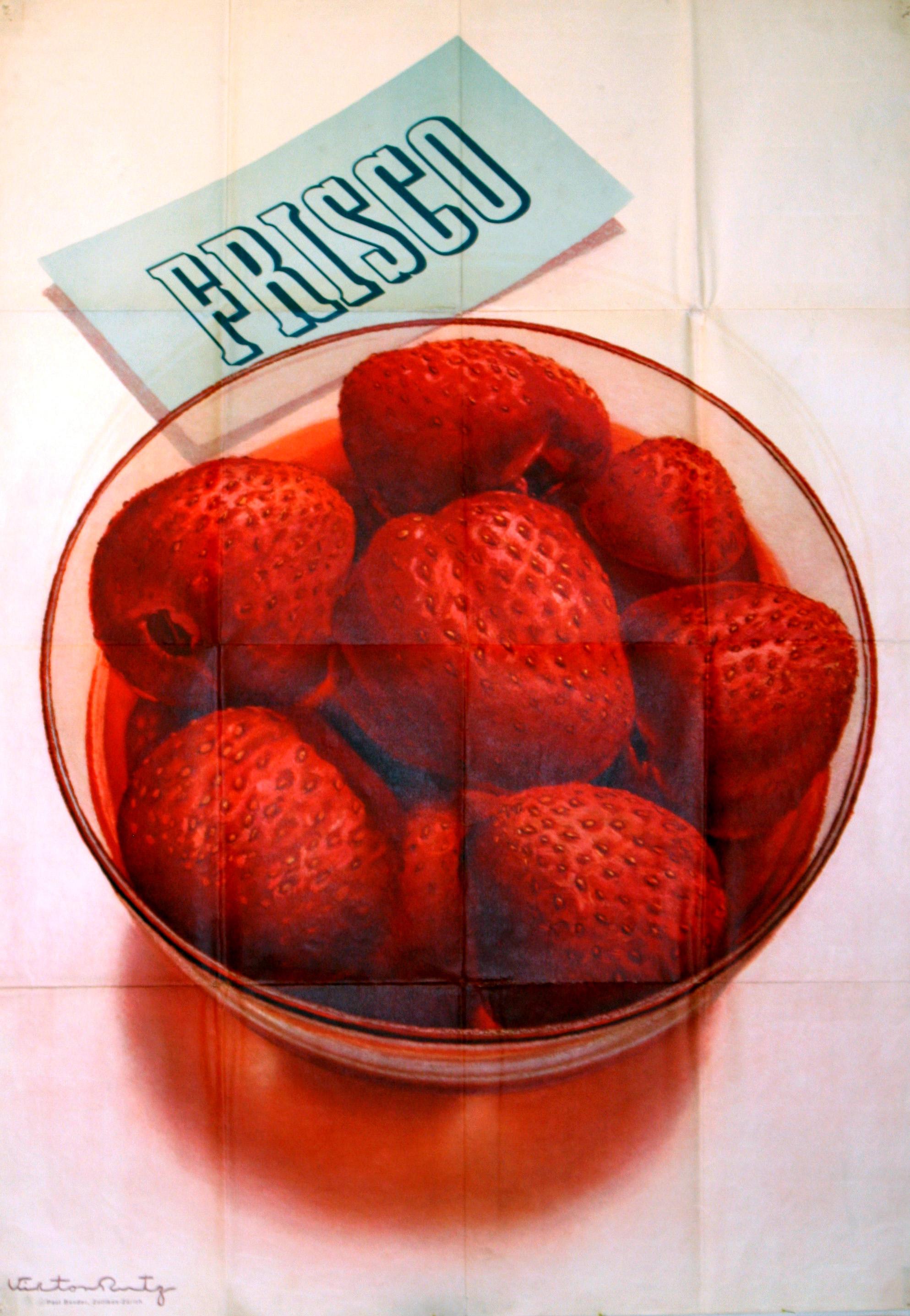 Lot 1408 - Original 1942 advertising poster Frisco strawberries Swiss