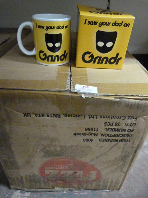 "Lot 107 - *Thirty Six ""Grindr"" Mugs"