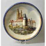 """Großer Wandteller """"Albrechtsburg Meissen"""", 20. Jh.Keramik, Relief polychrome Bemalung, D. 47"""