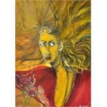 Resch, Martina Veronika.O.T. (Frau mit rotem Kleid und langem Haar). 2004. Mischtechnik (Aquarell,