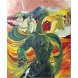 Resch, Martina VeronikaFigurative Komposition, im Vordergrund Frau in Grün. 2005. Öl auf Leinwand,