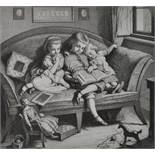 Bürkner, Hugo. 1818 Dessau - 1897 DresdenDrei Geschwister beim Lesen eines Bilderbuches. 1860.