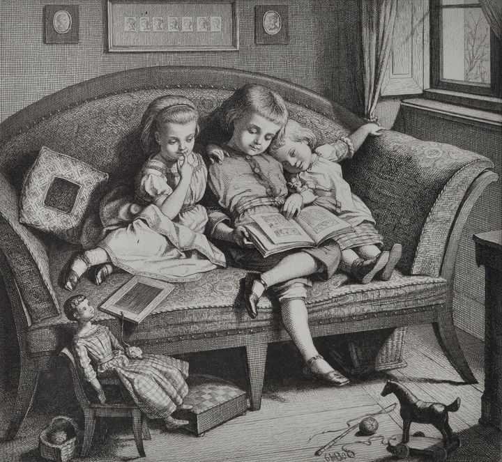 Lot 12 - Bürkner, Hugo. 1818 Dessau - 1897 DresdenDrei Geschwister beim Lesen eines Bilderbuches. 1860.