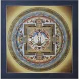 Mandala des Avalokiteshvara, Nepal, neuzeitlichIm Zentrum die buddhistische Gottheit des unendlichen