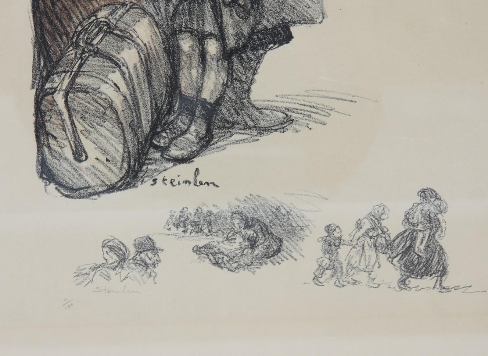 LITHOGRAPHIE DE STEINLEN En couleurs, encadrée, représentant une mère et ses deux enfants devant des - Image 2 of 2