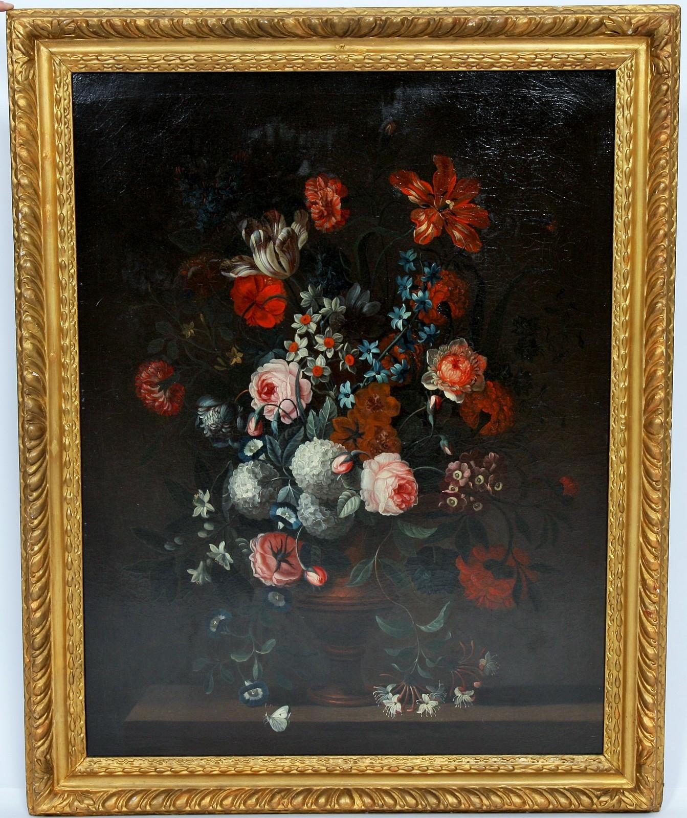 """TABLEAU """"BOUQUET DE FLEURS"""" Huile sur toile encadrée représentant un bouquet de fleurs dans un"""