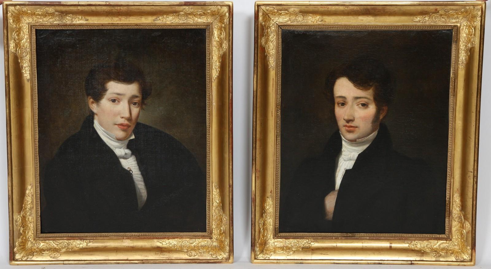 """PAIRE DE TABLEAUX """"PORTRAITS  DE JEUNES HOMMES"""" XIXè Paire d'huiles sur toiles encadrées"""