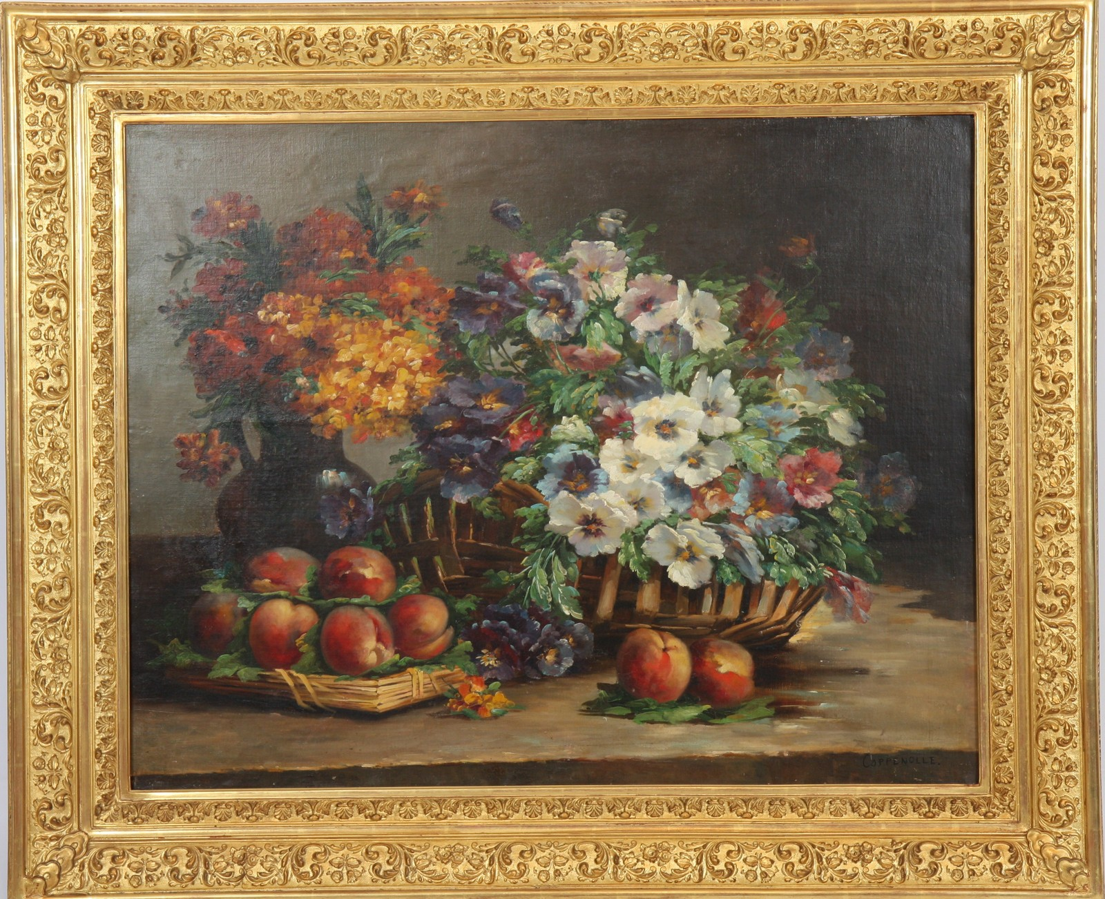 """TABLEAU """"NATURE MORTE"""" XIXè Huile sur toile encadrée représentant deux bouquets de fleurs et des"""