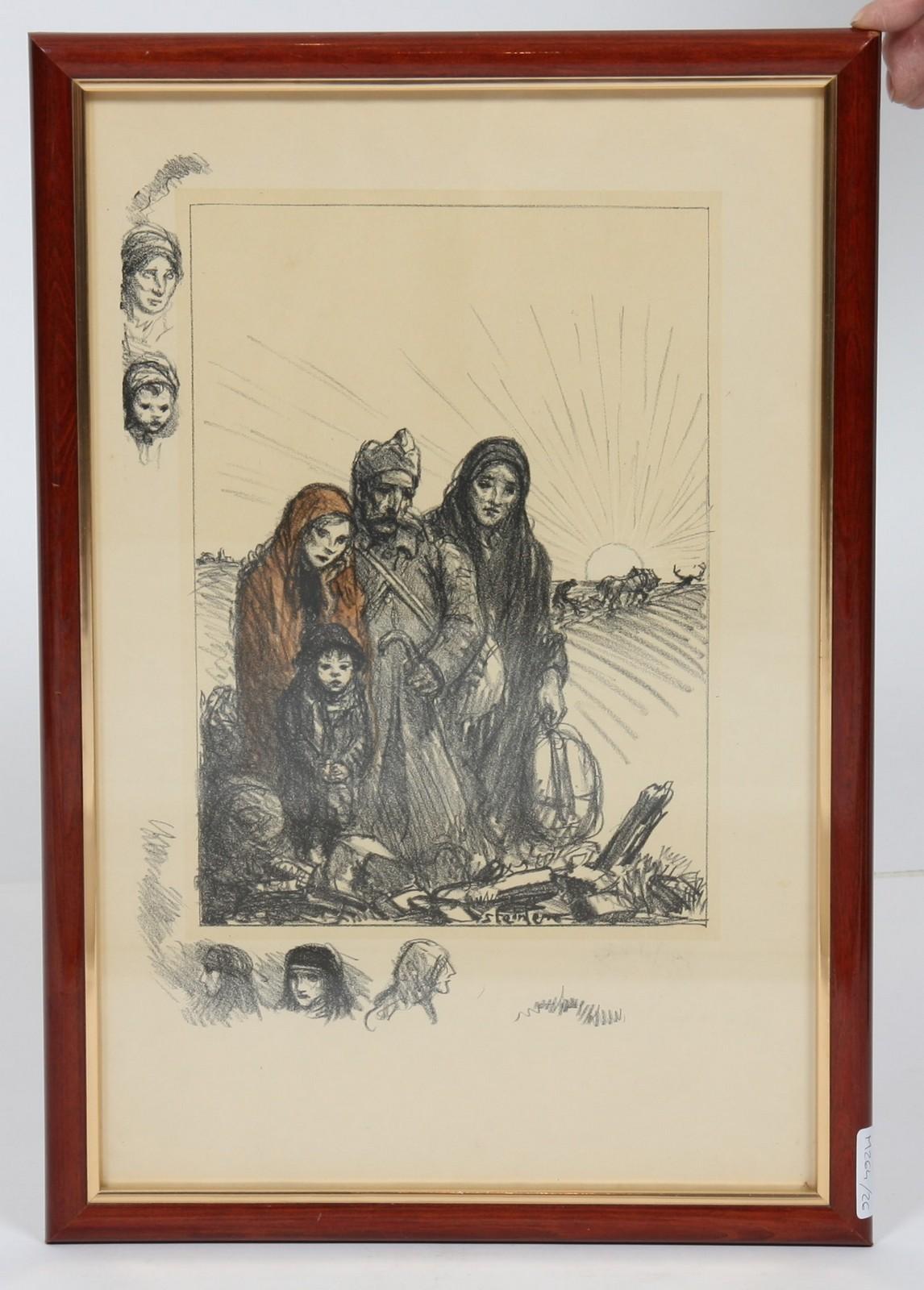 LITHOGRAPHIE DE STEINLEN En couleurs, encadrée, représentant un poilu et sa famille, dans un