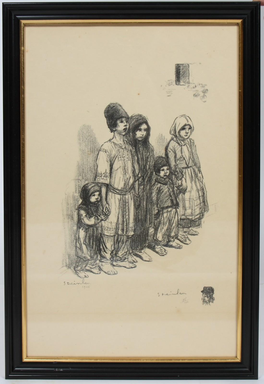 LITHOGRAPHIE DE STEINLEN En noir et blanc, encadrée, représentant une mère et ses deux enfants