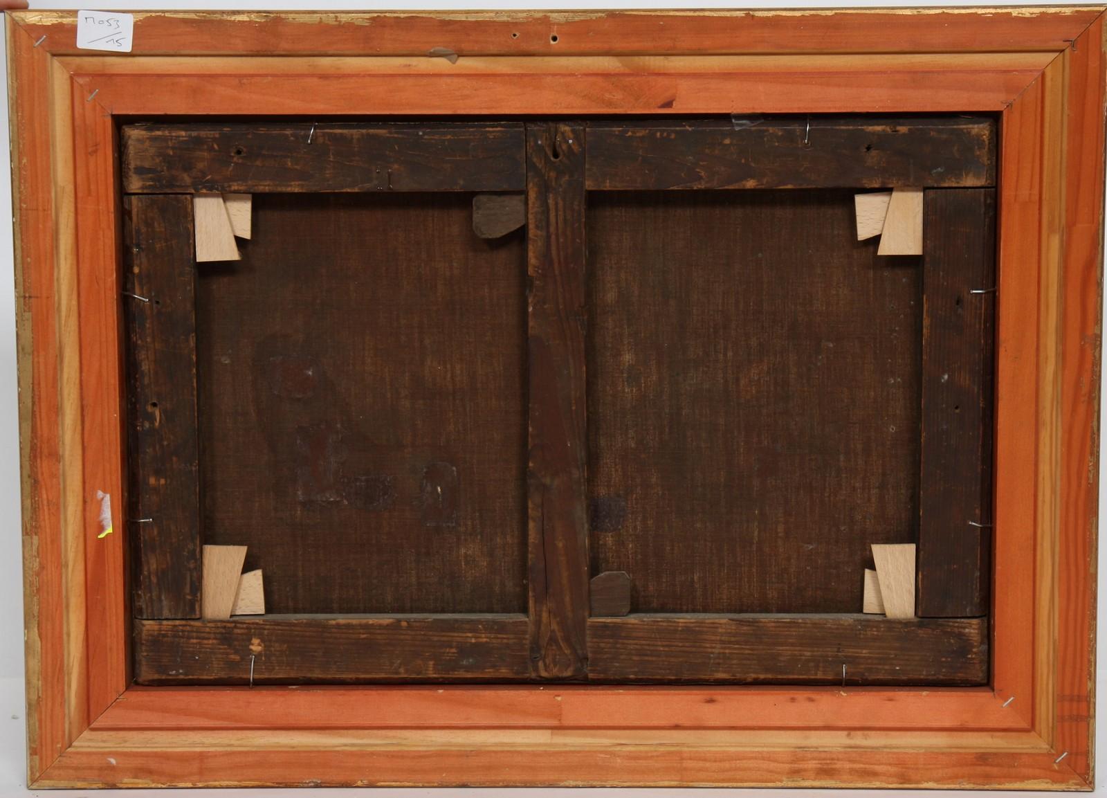 """TABLEAU """"PAYSAGE CAMPAGNARD"""" Huile sur toile encadrée représentant une ferme animée d'un berger - Image 3 of 3"""