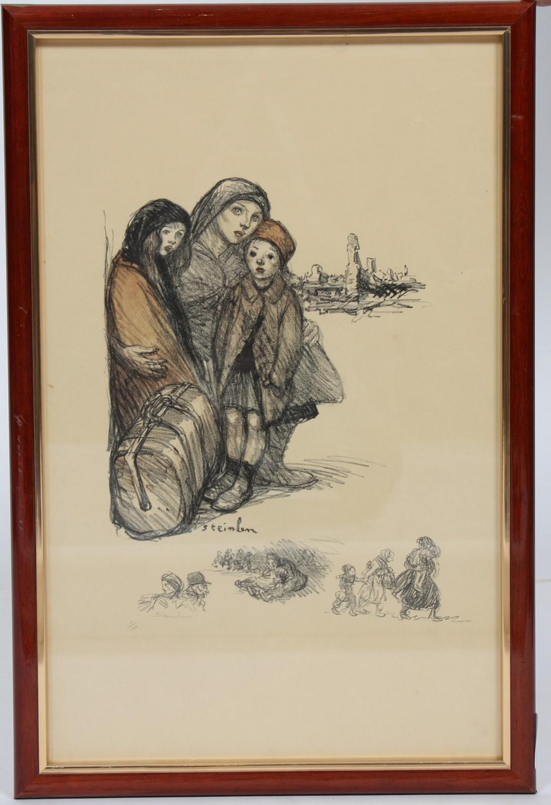 LITHOGRAPHIE DE STEINLEN En couleurs, encadrée, représentant une mère et ses deux enfants devant des