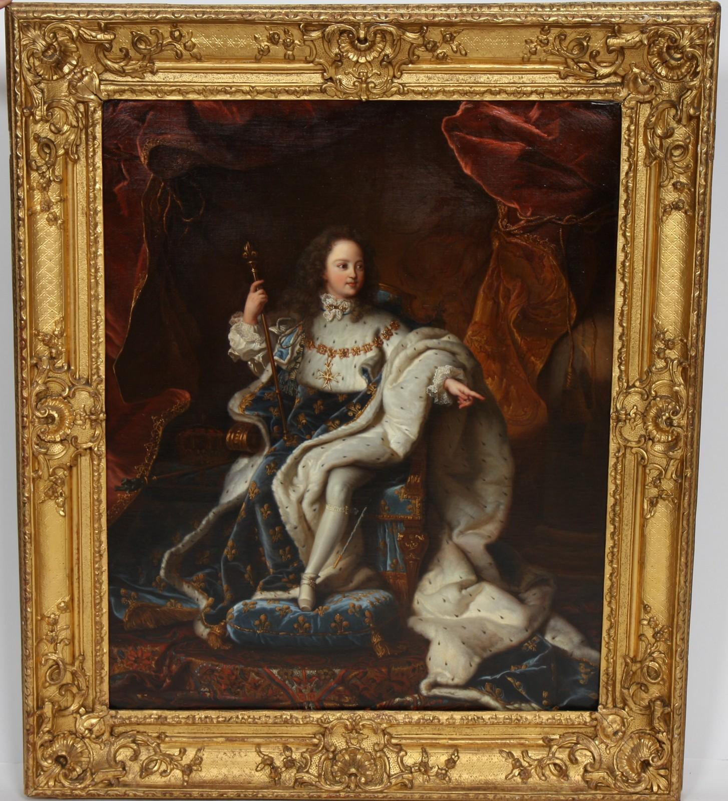 """TABLEAU """"PORTRAIT ROYAL DE LOUIS XV ENFANT"""" Huile sur toile encadrée représentant le jeune roi en"""