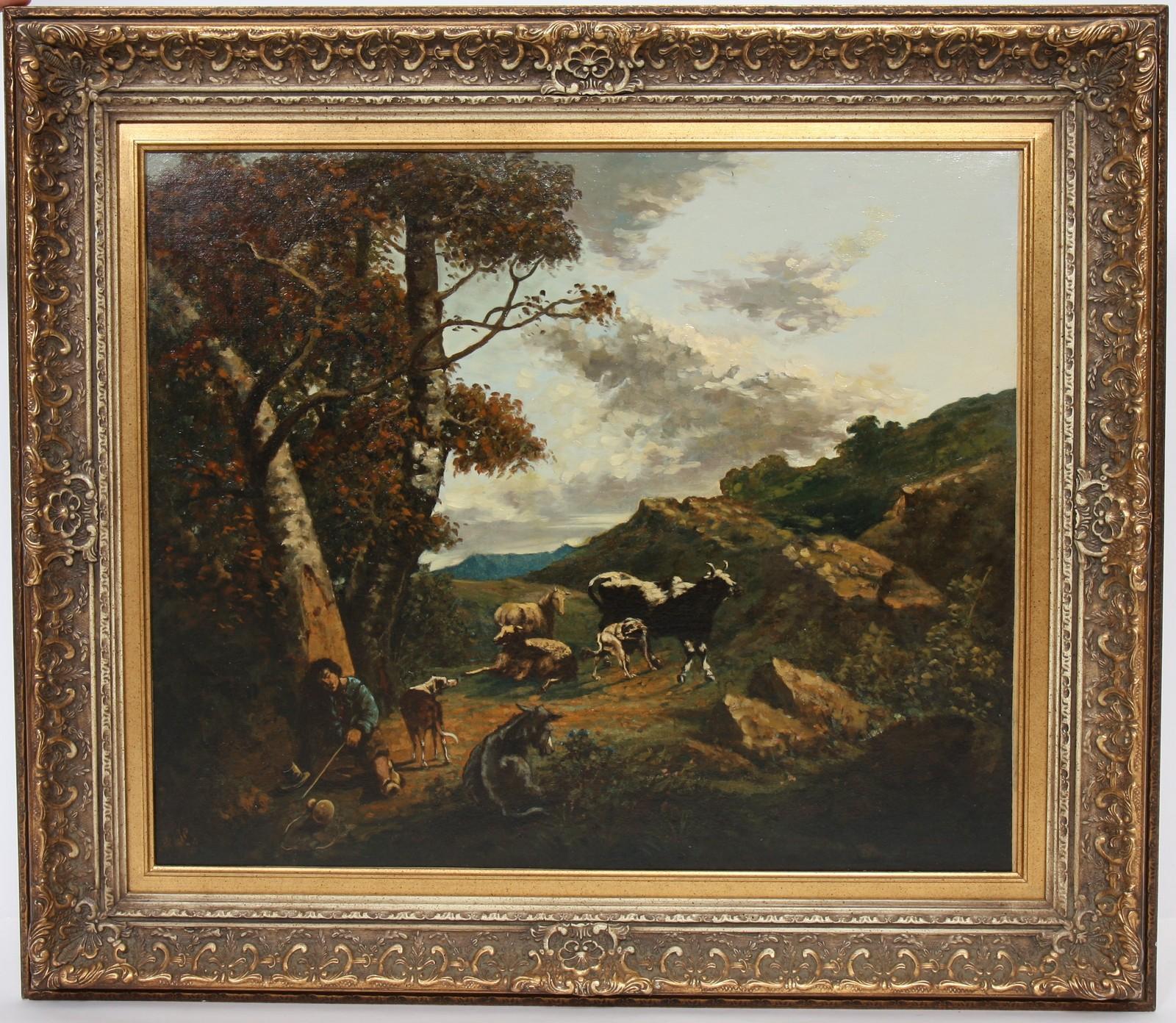 """TABLEAU """"LE BERGER ENDORMI"""" Huile sur toile encadrée représentant un berger endormi au pied d'un"""