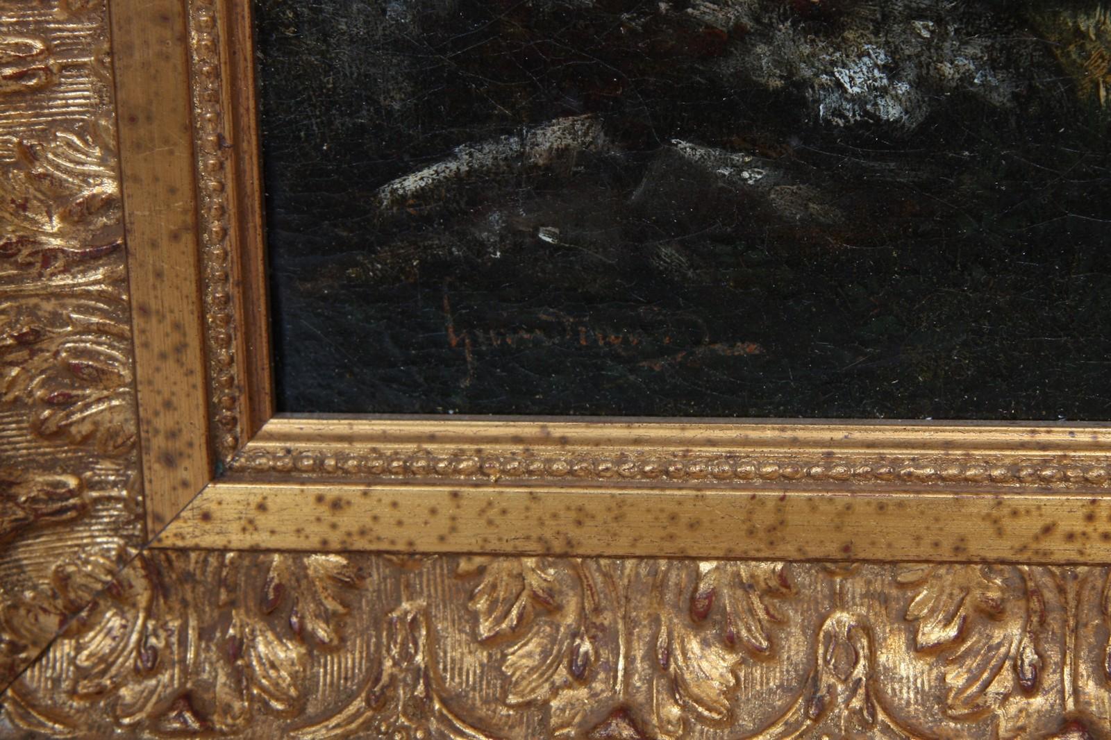 """TABLEAU """"PAYSAGE CAMPAGNARD"""" Huile sur toile encadrée représentant une ferme animée d'un berger - Image 2 of 3"""