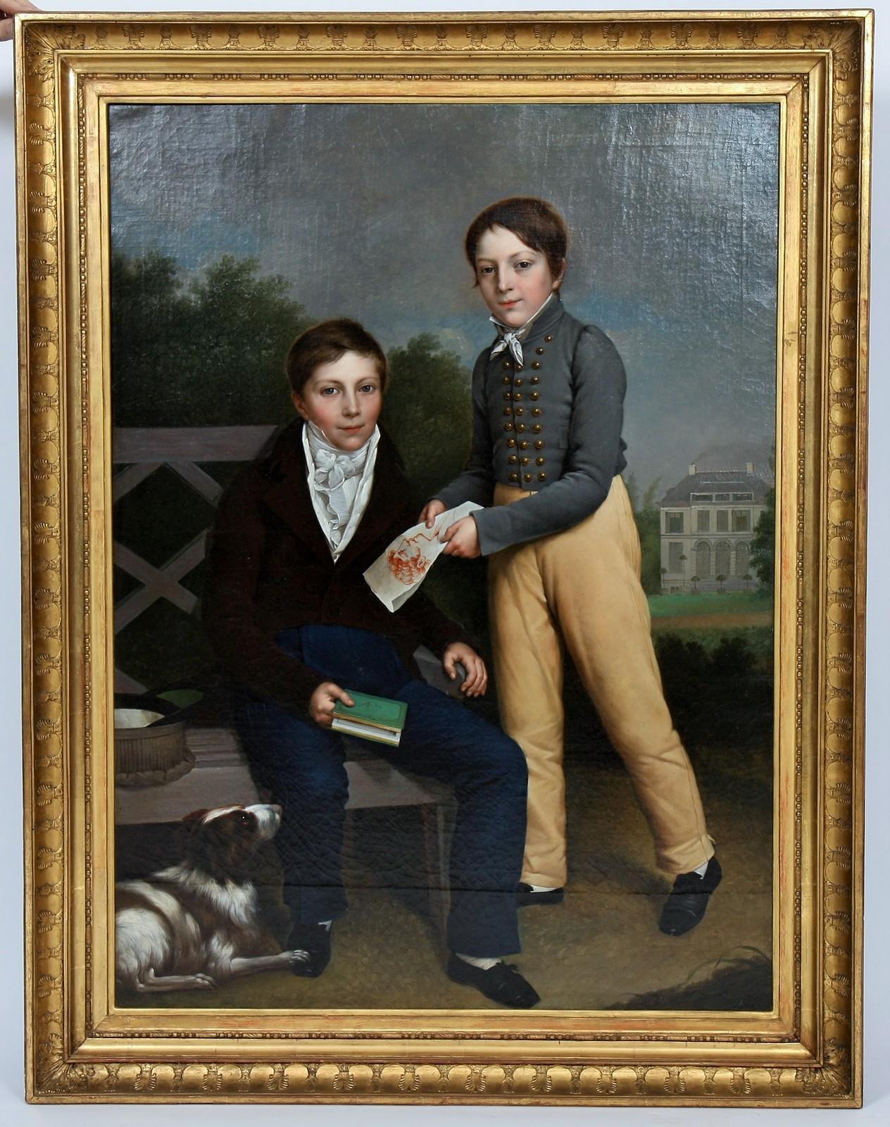 """TABLEAU """"PORTRAITS D'ENFANTS"""" XIXè Huile sur toile encadrée représentant deux garçons et un chien"""