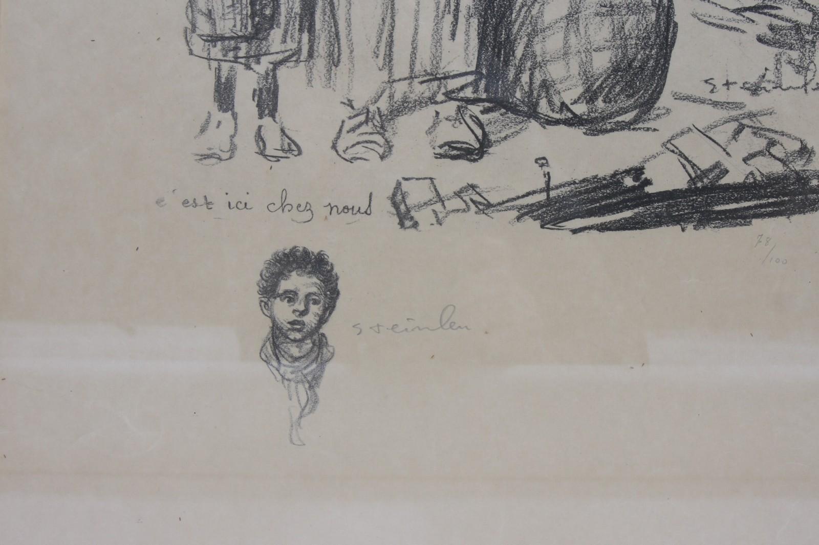 LITHOGRAPHIE DE STEINLEN En noir et blanc, encadrée, représentant cinq enfants adossés à un mur. - Image 2 of 2