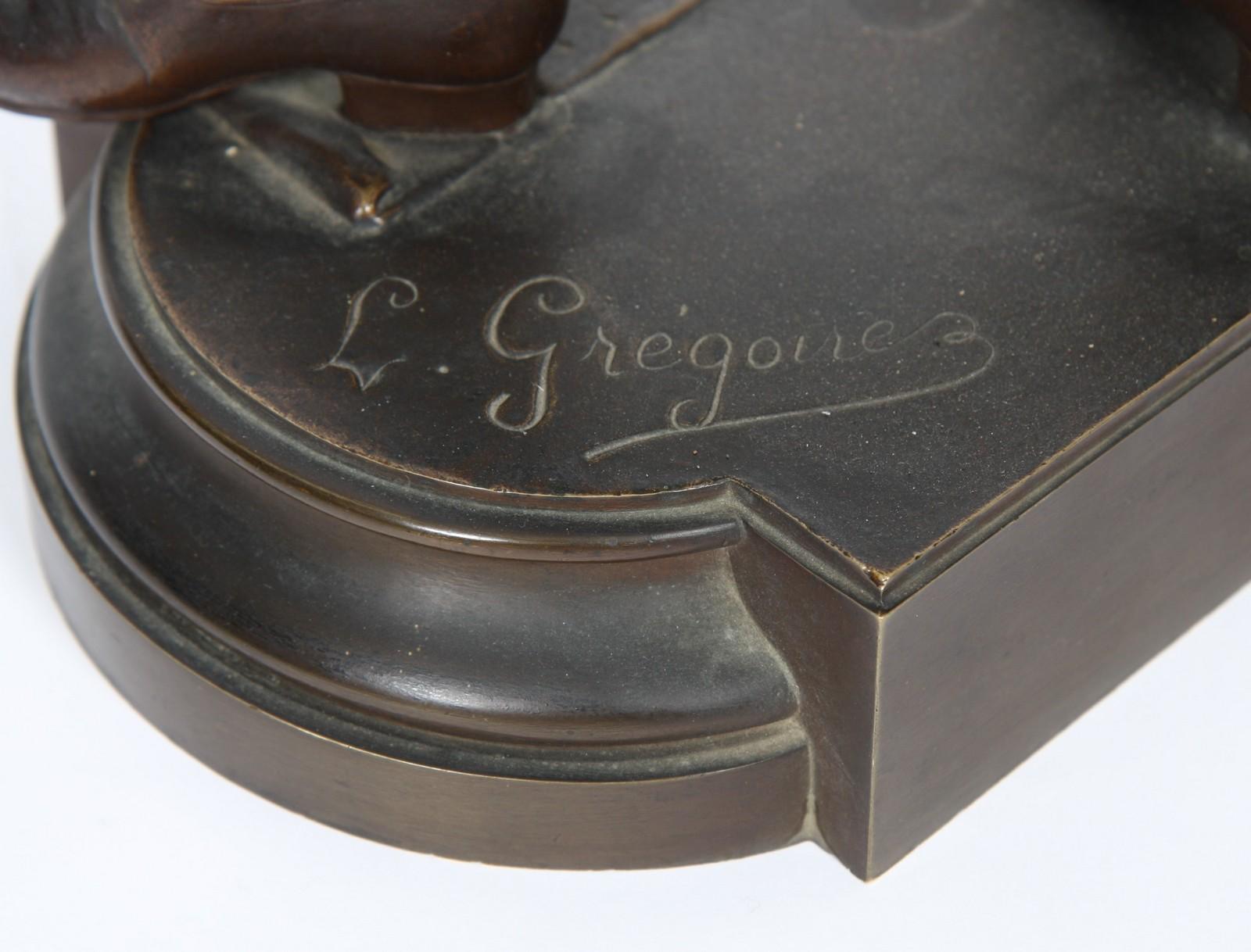 """BRONZE """"MOZART"""" DE LEON GREGOIRE Bronze à patine marron représentant le jeune Mozart, en pied , - Image 3 of 3"""