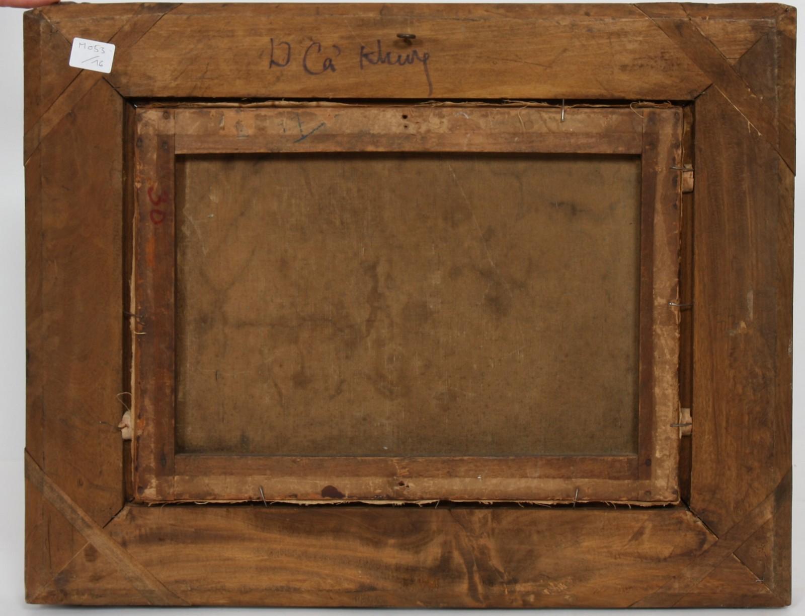"""TABLEAU """"PAYSAGE DE BARBIZON"""" Huile sur papier marouflée sur toile, encadrée représentant un bouquet - Image 2 of 2"""