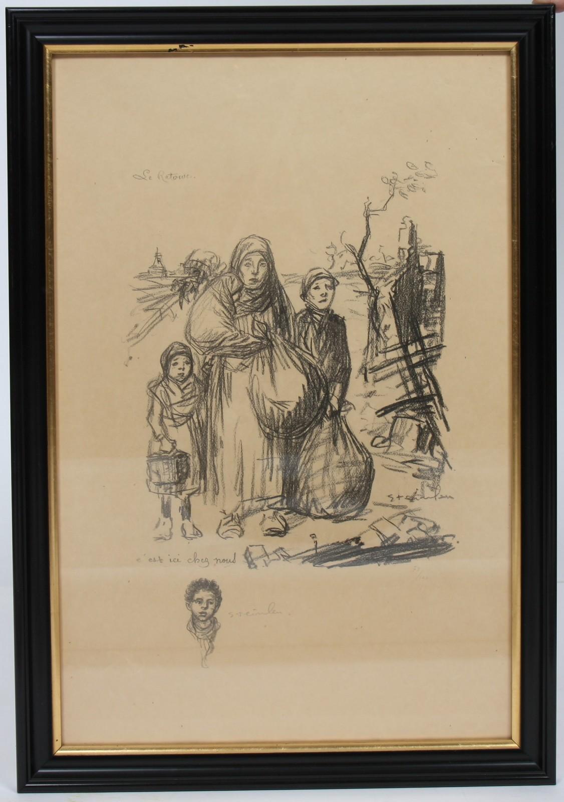 LITHOGRAPHIE DE STEINLEN En noir et blanc, encadrée, représentant cinq enfants adossés à un mur.
