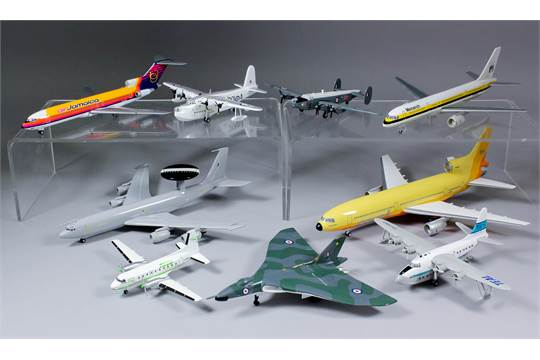 A small collection of nine collectors aircraft models