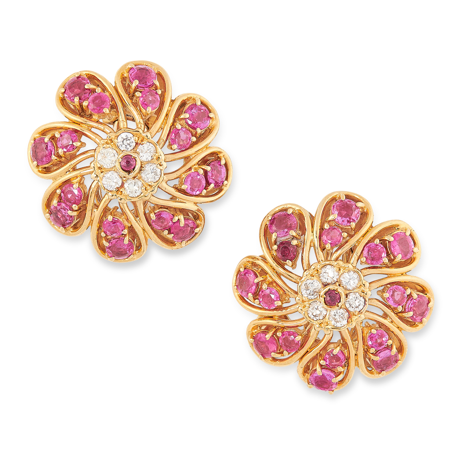 A PAIR OF RUBY AND DIAMOND CLUSTER EARRINGS set with rose cut diamonds and round brilliant cut