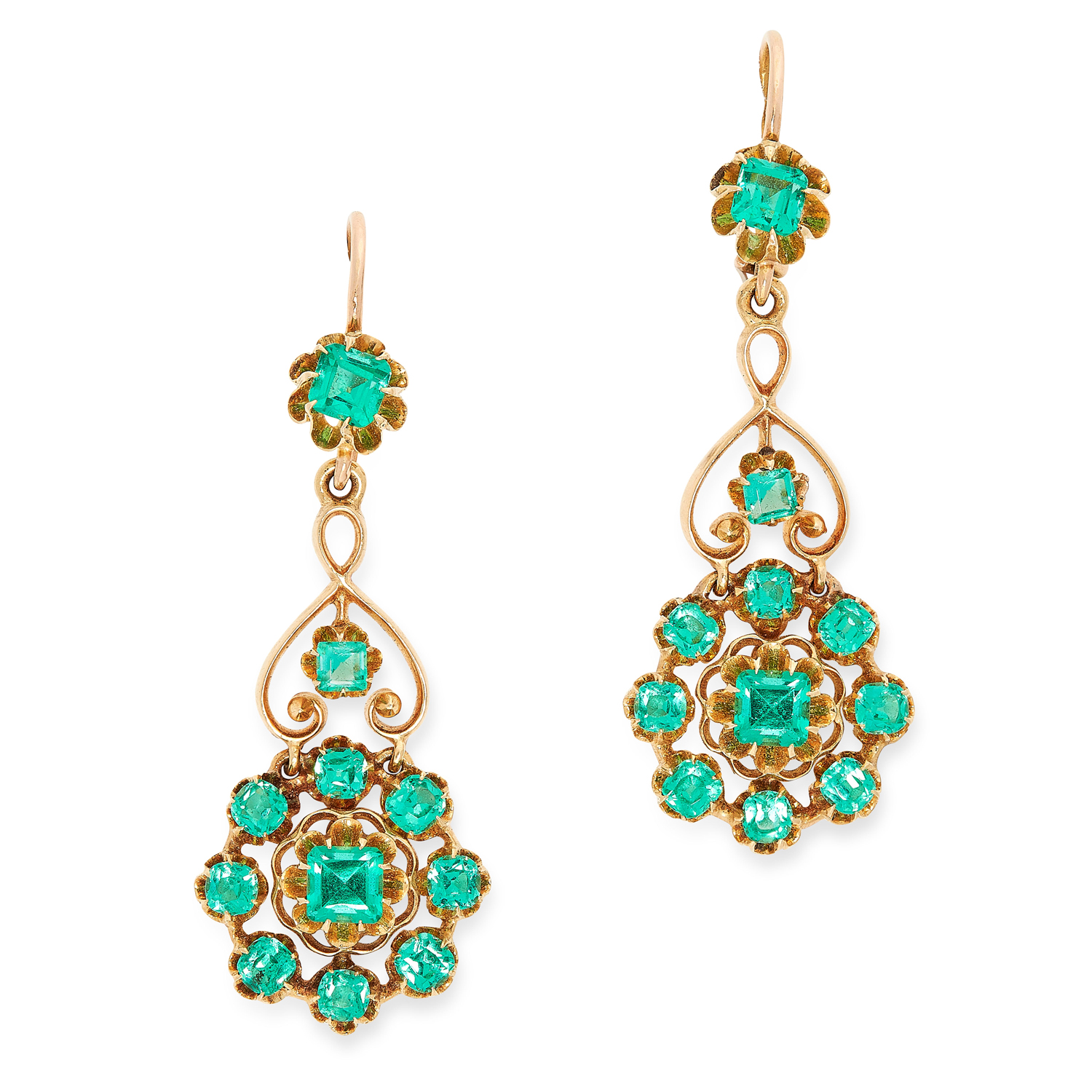 A PAIR OF ANTIQUE EMERALD EARRINGS in open scrolling design set with emerald and cushion cut emerald