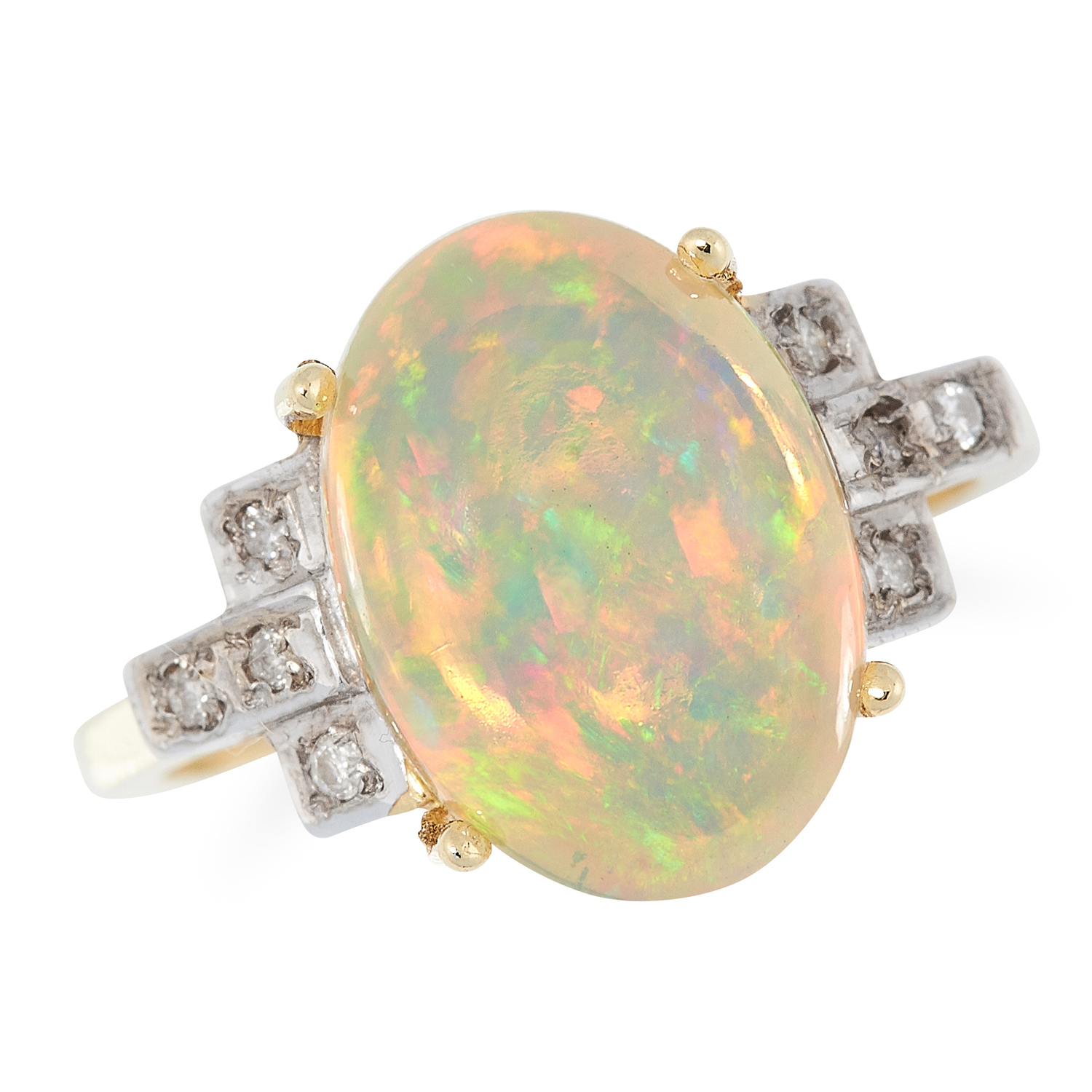 AN OPAL AND DIAMOND DRESS RING set with a cabochon