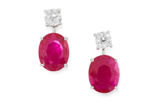 A PAIR OF RUBY AND DIAMOND EARRINGS in high carat