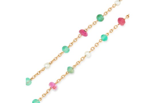 AN ANTIQUE EMERALD, RUBY AND PEARL SAUTOIR CHAIN N - Image 2 of 2