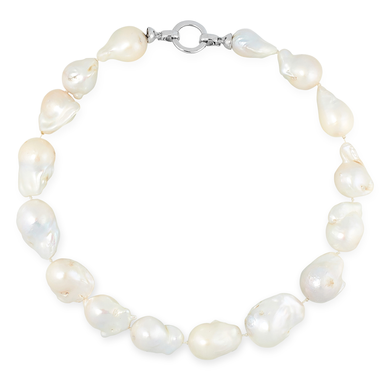 A BAROQUE PEARL NECKLACE comprising of a single row of sixteen baroque pearls, 44cm, 133g.