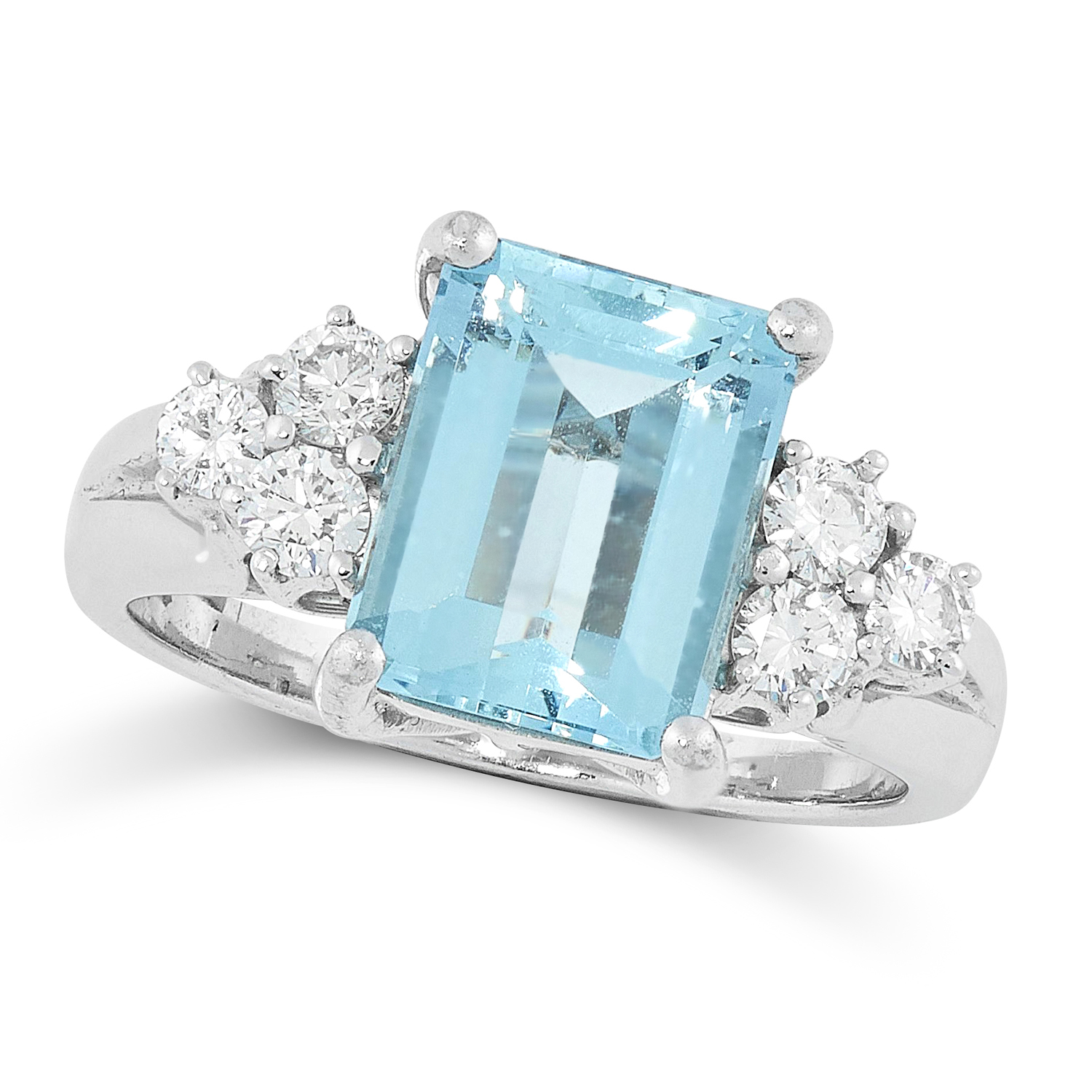 AN AQUAMARINE AND DIAMOND RING set with a step cut aquamarine of 1.91 carats between round cut