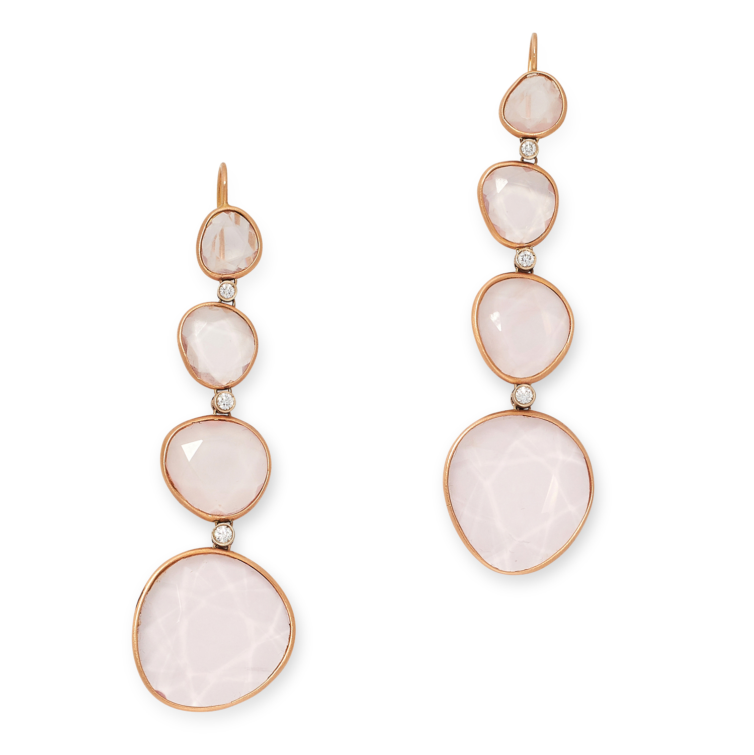 A PAIR OF ROSE QUARTZ AND DIAMOND EARRINGS each set with four graduated faceted rose quarts