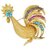 A VINTAGE RUBY, SAPPHIRE AND TURQUOISE COCKEREL BR
