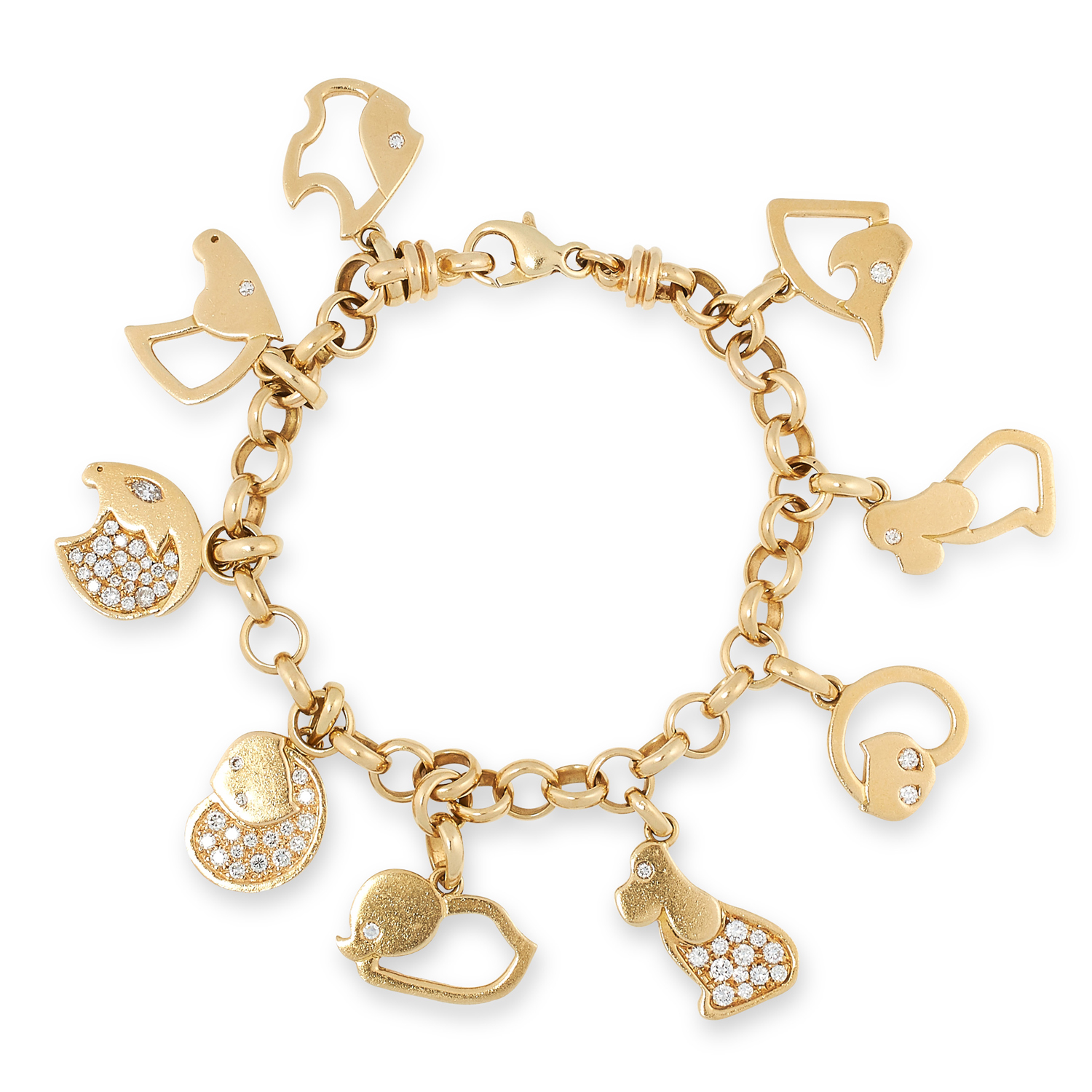 A GOLD AND DIAMOND ANIMAL CHARM BRACELET, MARINA B in 18ct yellow gold, suspending nine various