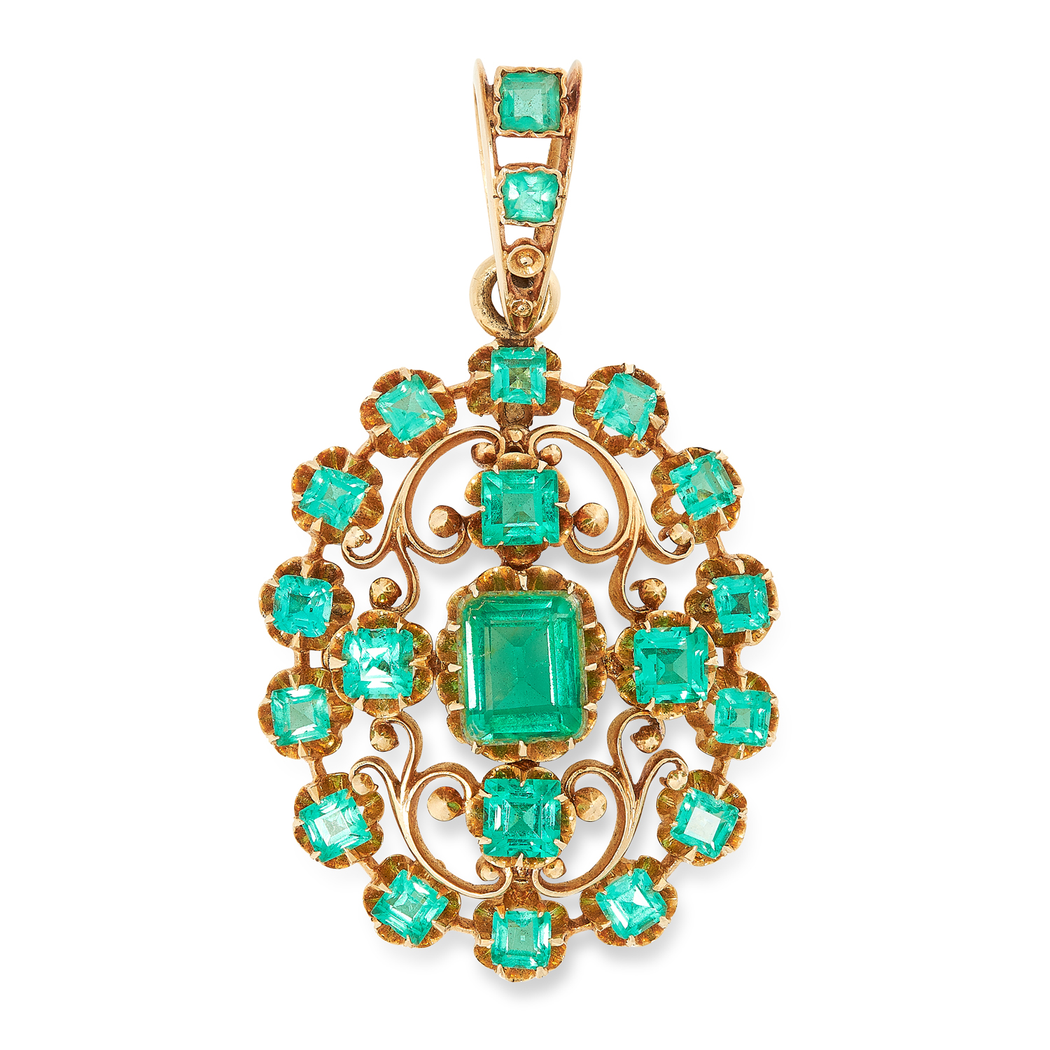 AN ANTIQUE EMERALD PENDANT in open scrolling design set with emerald and square cut emerald doublets