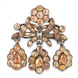 AN ANTIQUE TOPAZ GIRANDOLE BROOCH, PORTUGESE 18TH