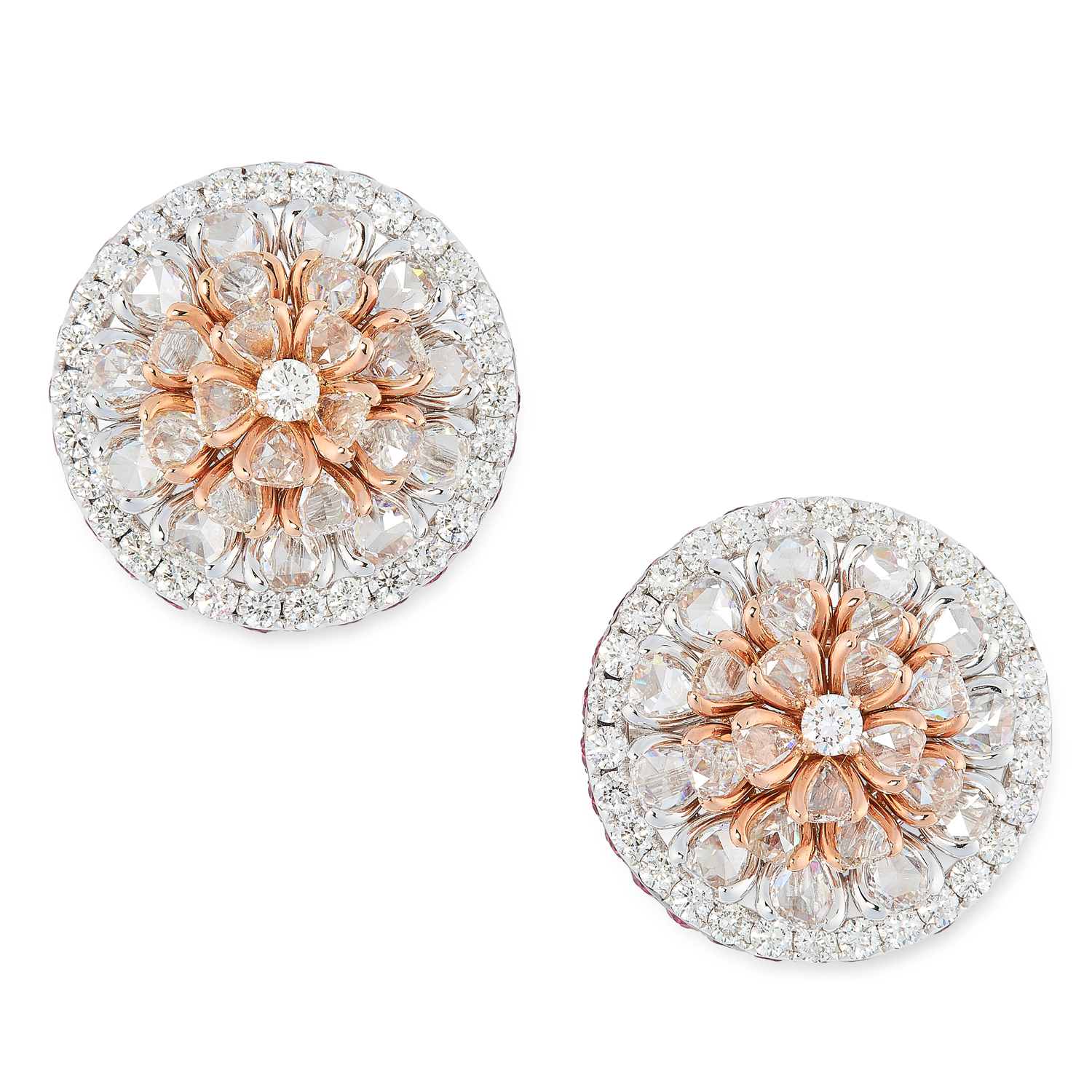 A PAIR OF DIAMOND AND RUBY CLUSTER EARRINGS each comprising a cluster of rose and round cut diamonds