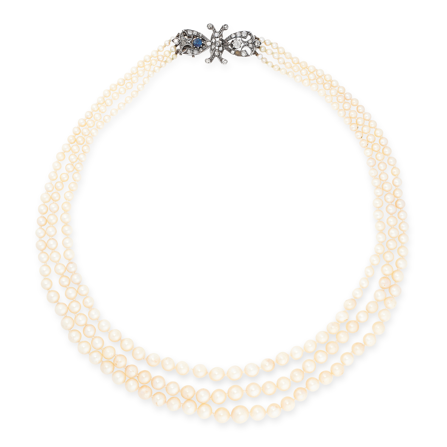 AN ANTIQUE PEARL, DIAMOND AND SAPPHIRE NECKLACE comprising of three rows of pearls ranging from 2.