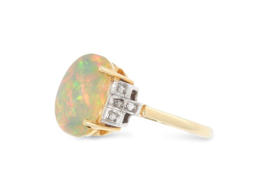 AN OPAL AND DIAMOND DRESS RING set with a cabochon - Image 2 of 2