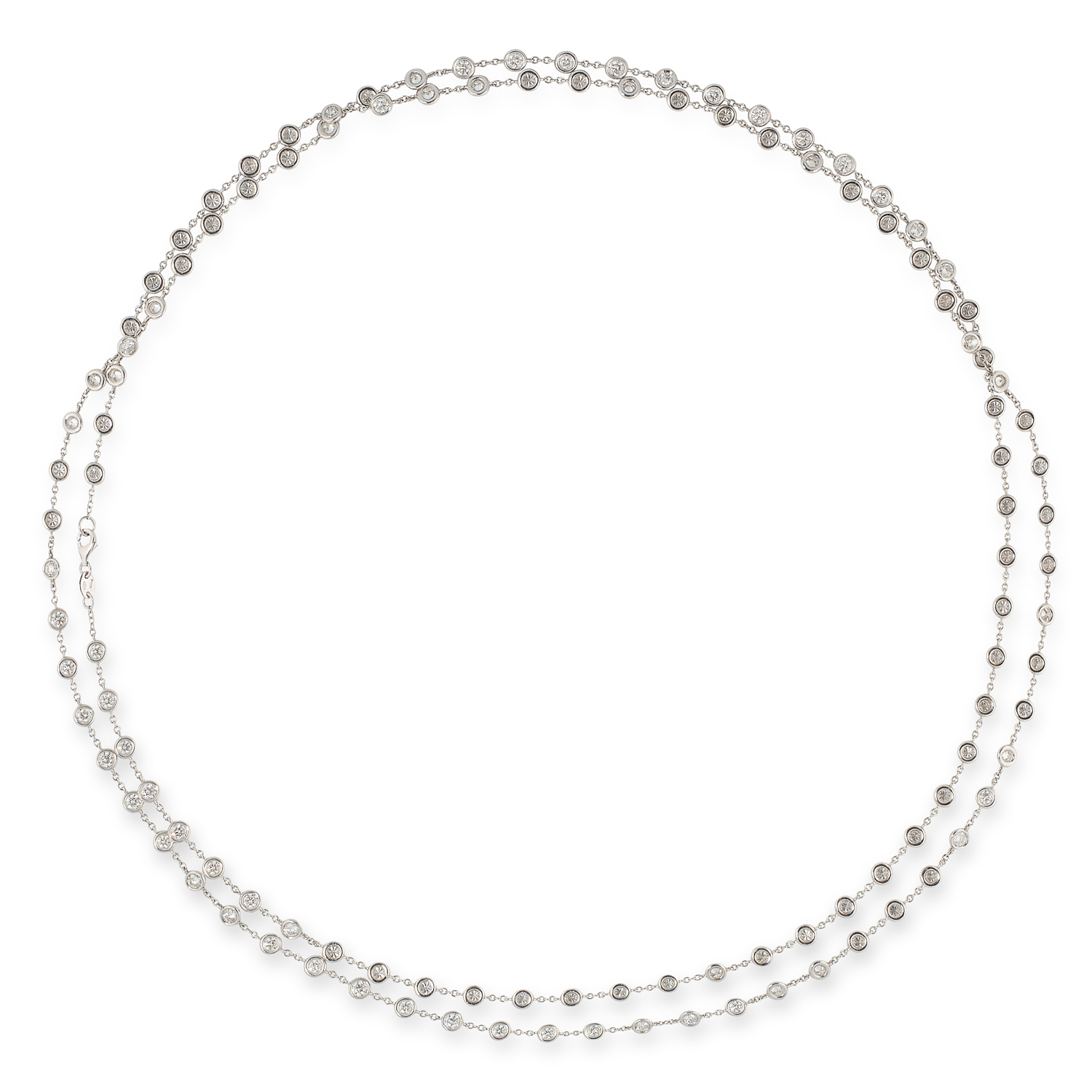 A DIAMOND LONG CHAIN SAUTOIR NECKLACE in the manne