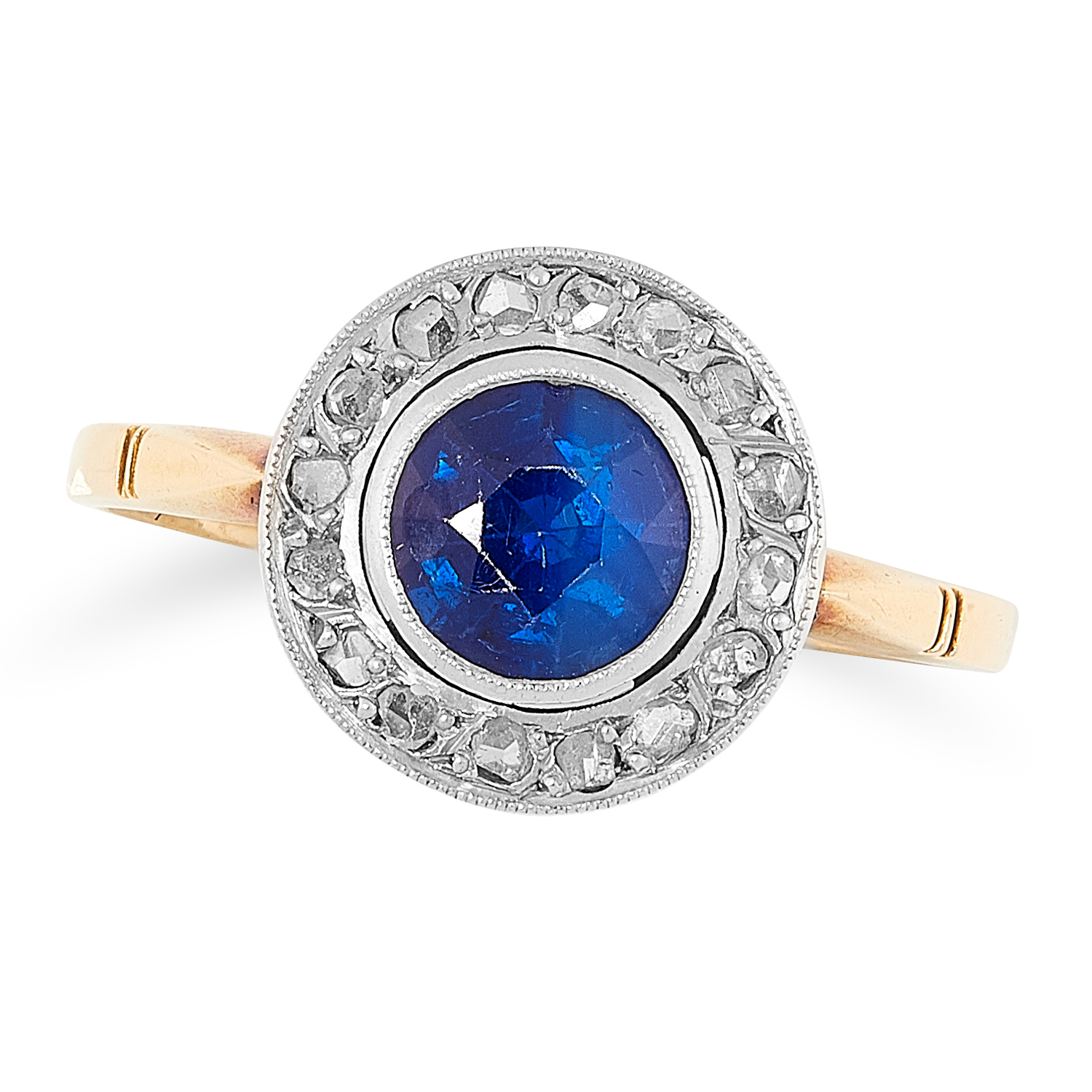A SAPPHIRE AND DIAMOND CLUSTER RING set with a rou