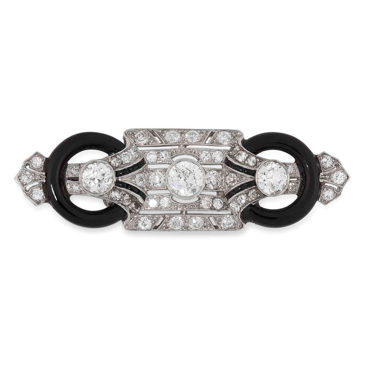 AN ART DECO ONYX AND DIAMOND BROOCH in 18ct white