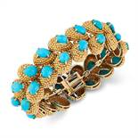 A VINTAGE TURQUOISE FANCY LINK BRACELET, CIRCA 1960 in high carat yellow gold, comprising of two