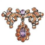 AN ANTIQUE TOPAZ AND AMETHYST BROOCH, PORTUGESE 18