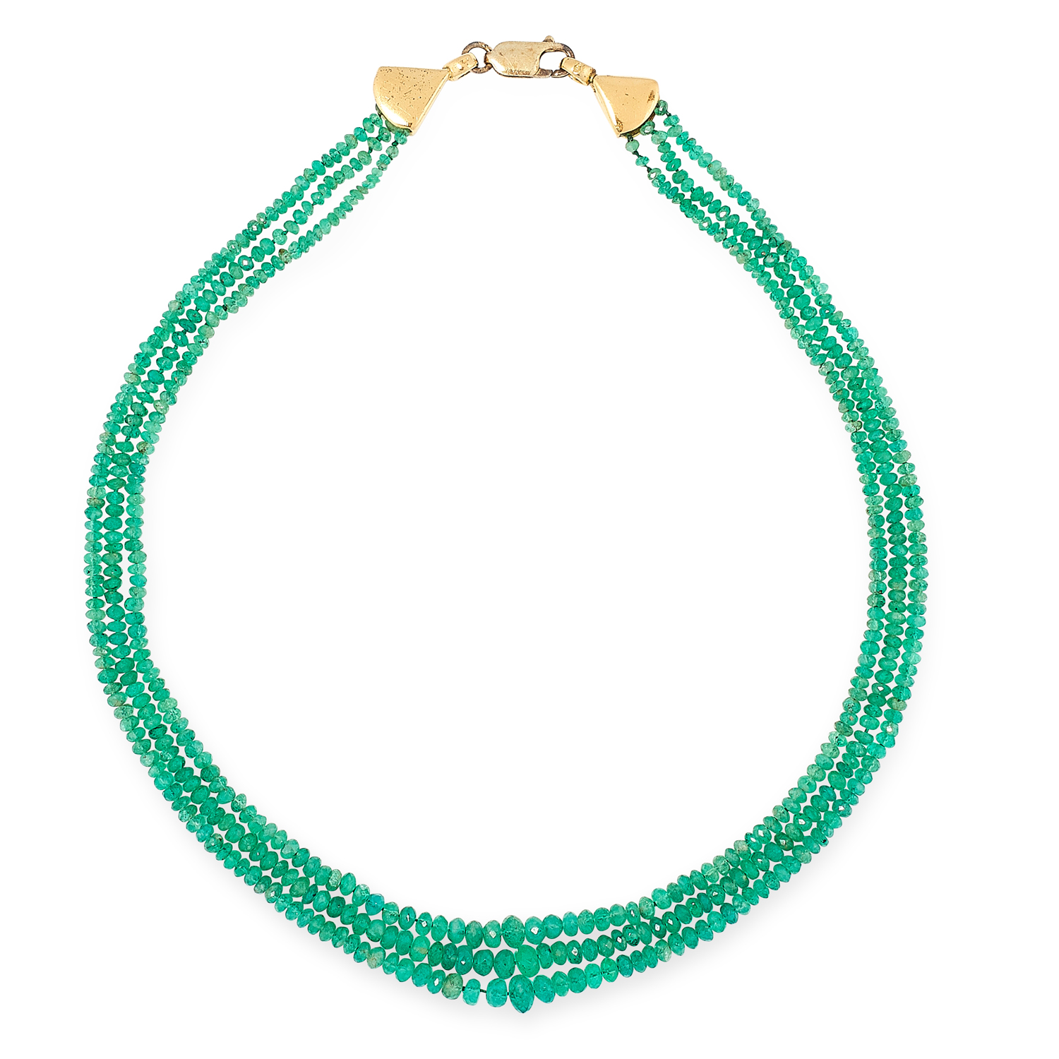 AN EMERALD BEAD NECKLACE set with three rows of fa