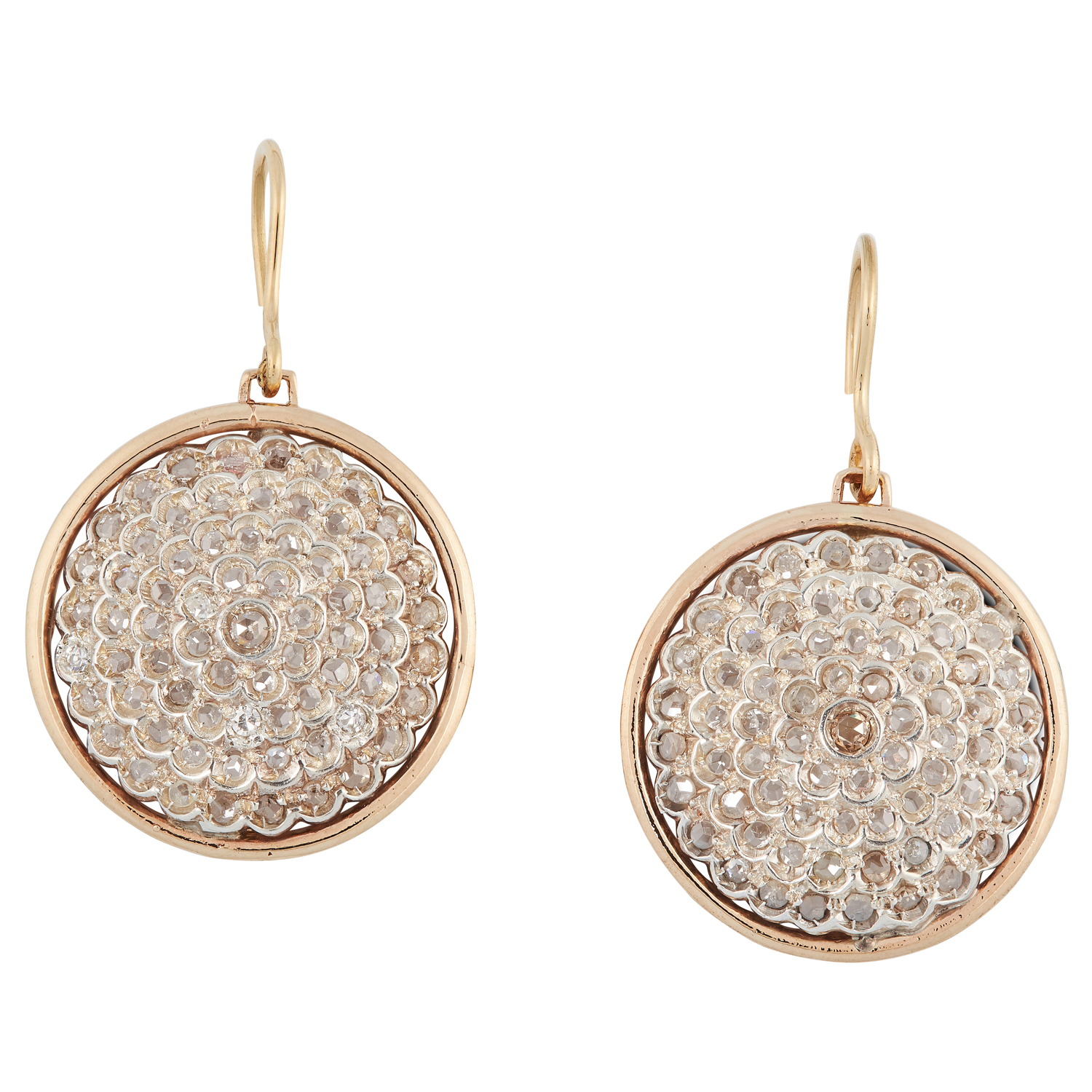 A PAIR OF DIAMOND MEDULA EARRINGS the circular face of each is pave set with rose cut diamonds, 4.