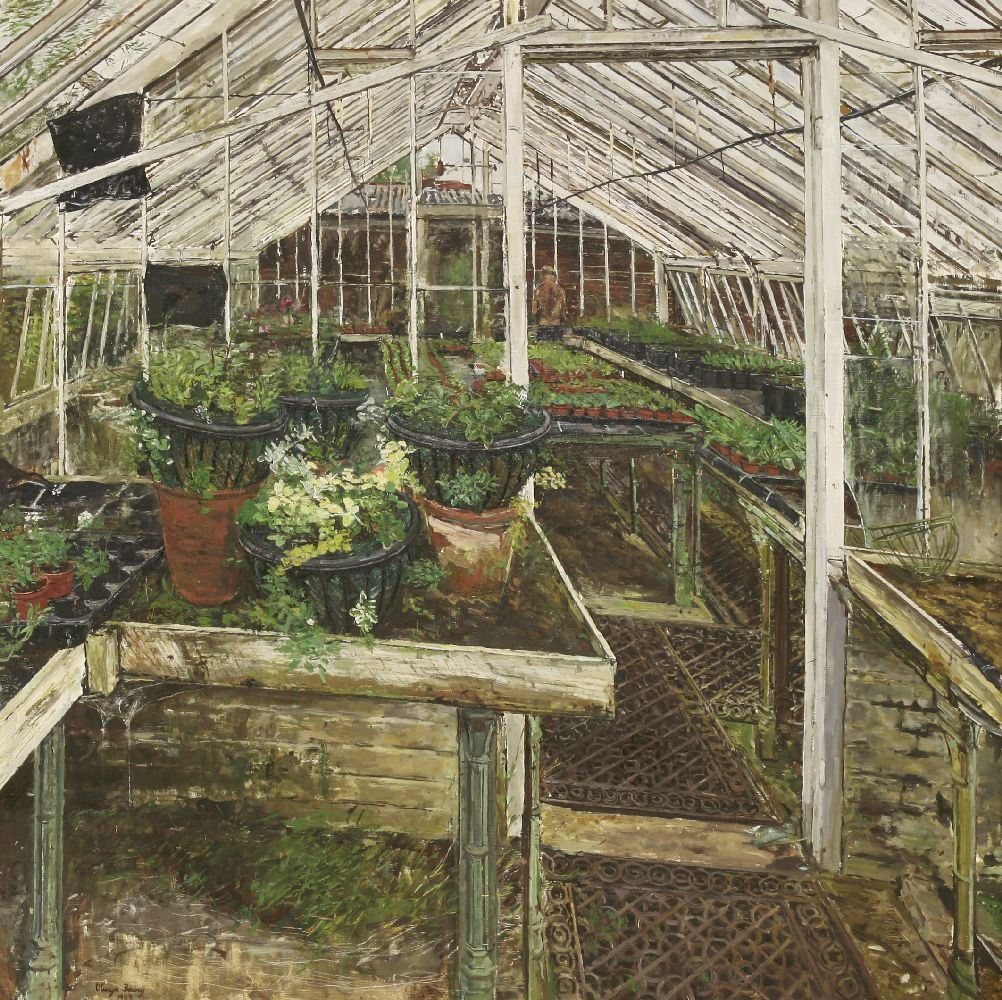 Lot 46 - *Olwyn Bowey RA (b.1936) 'MYRTLE'S HANGING BASKETS'Signed and dated 1989 l.l., oil on board94 x