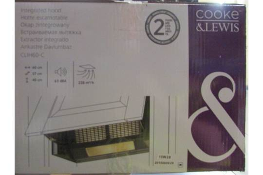 Cooke & Lewis Clih60-C Integrated Cooker Hood, Stainless Steel